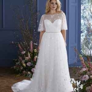 boat neck a line wedding dress