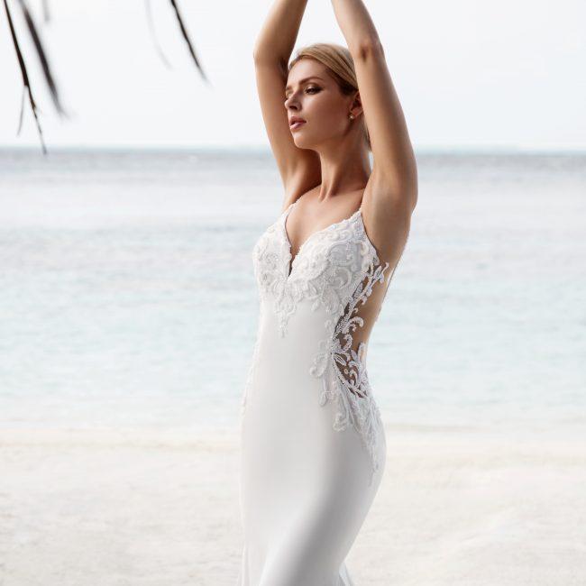 column wedding dress with beading