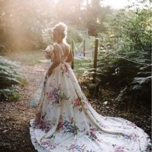 long train floral wedding gown