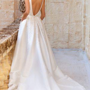 box pleat wedding dress with beading