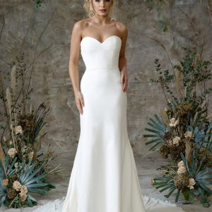 Aerial - Wedding Dresses & Gowns Auckland - aerial no sleeves front scaled