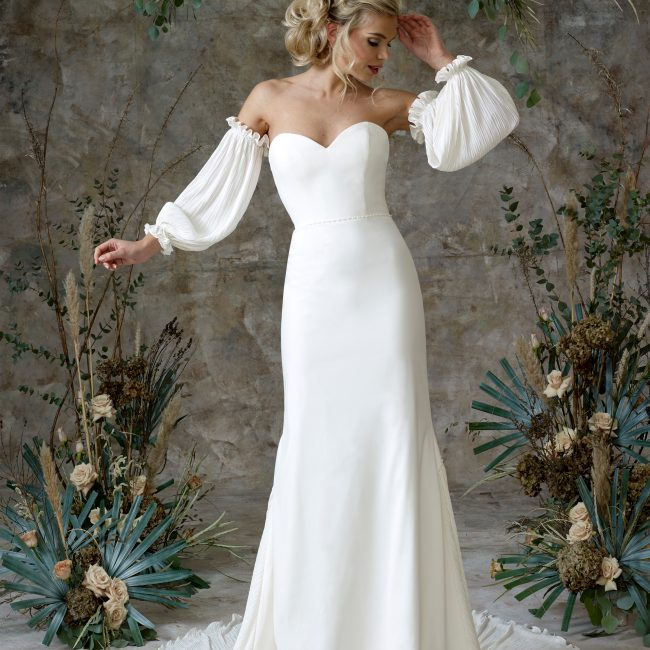 Aerial - Wedding Dresses & Gowns Auckland - aerial sleeves front