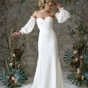 Aerial - Wedding Dresses & Gowns Auckland - aerial sleeves front scaled