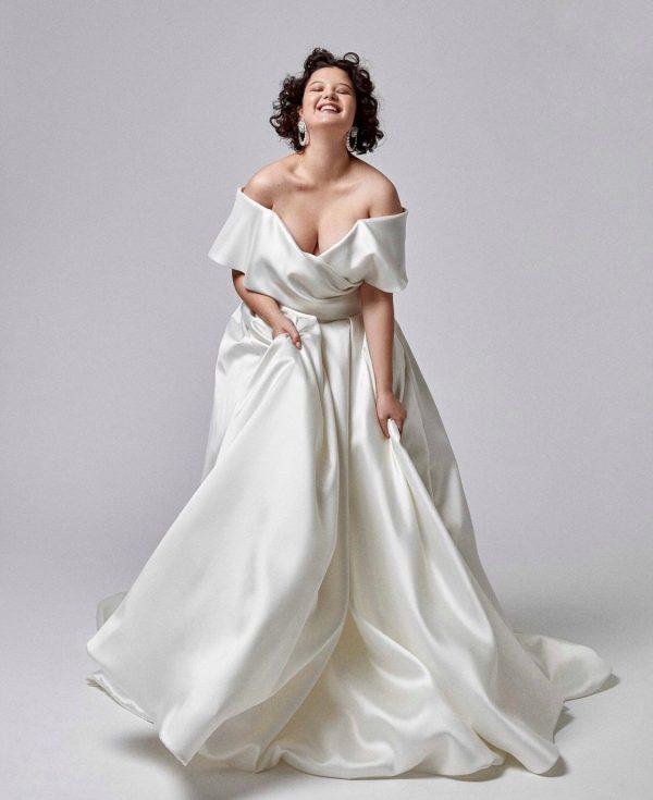 off the shoulder wedding dress plus size