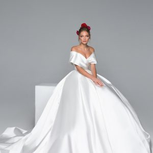plain off the shoulder ball gown