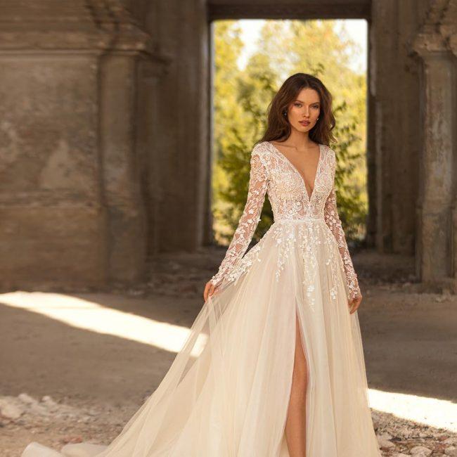 long sleeve wedding dress with leg split