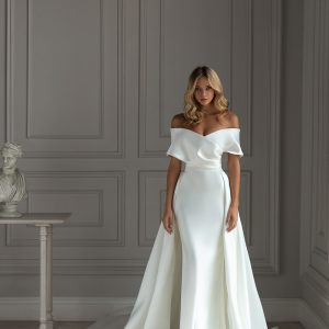 Off the shoulder wedding dress with overskirt