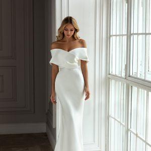 plain off the shoulder wedding dress
