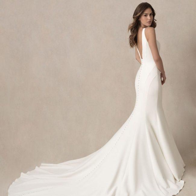 long train plain wedding dress