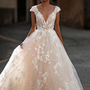 lace ball gown with sleeve
