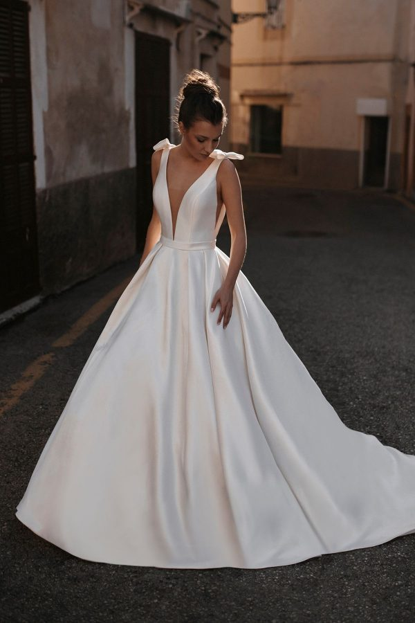 plain silk ball gown wedding dress