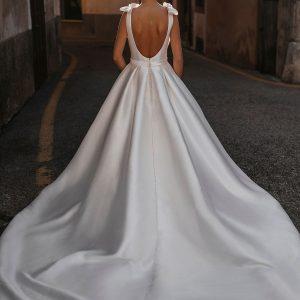 plain low back ball gown wedding dress