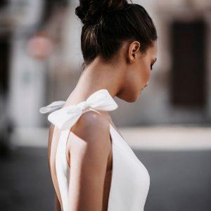 plain wedding dress with bow