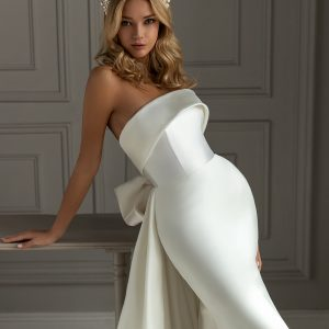 fitted silk wedding dress with large bow