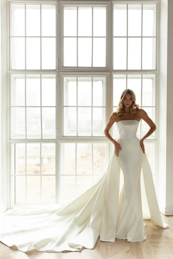 fitted silk wedding dress with overskirt
