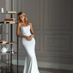 simple elegant wedding dress with corset